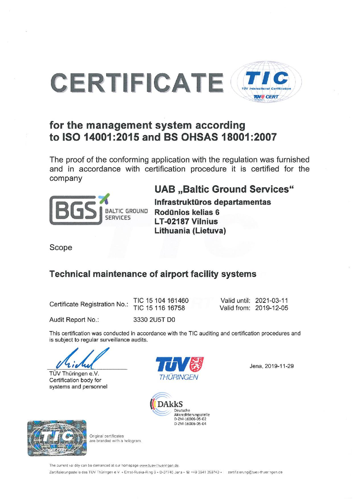 ISO and BS OHSAS TIC Certificate